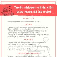 Tuyển shipper - nhân viên giao nước đá (xe máy)