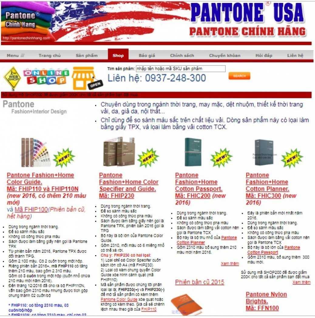 Hình ảnh bìa Pantone Chính Hãng Usa