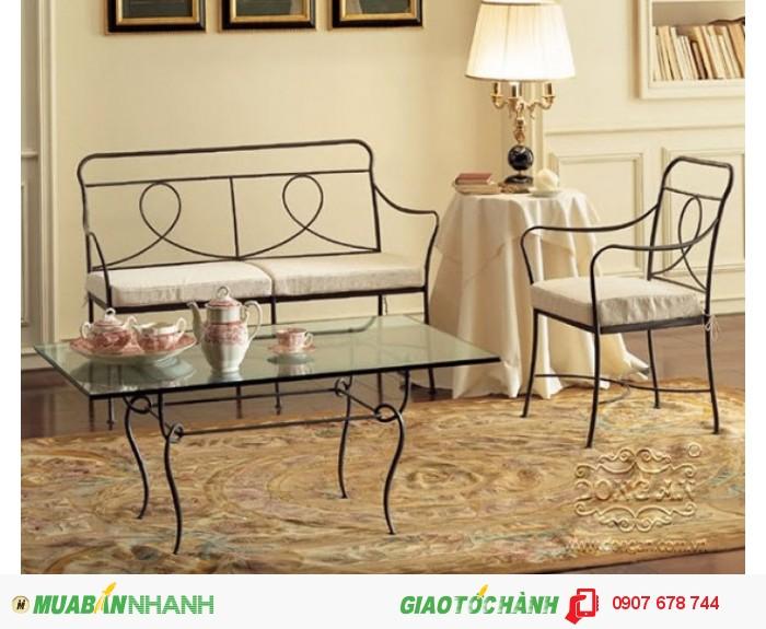 Bàn ghế sắt rèn nghệ thuật  (Bàn: 2.200.000đ; Ghế đơn: 1.000.000đ; Ghế đôi: 2.250.000đ)0