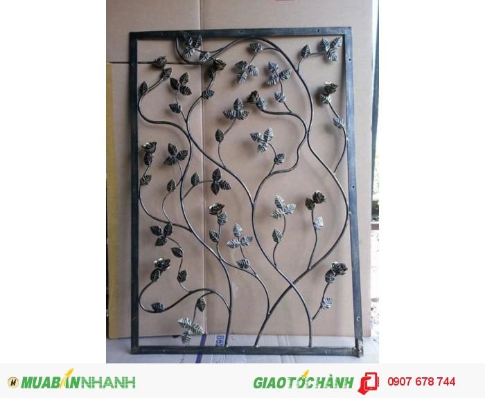 Mẫu hoa văn trang trí ốp tường được làm bằng sắt nghệ thuật với những đường nét đơn giản,0