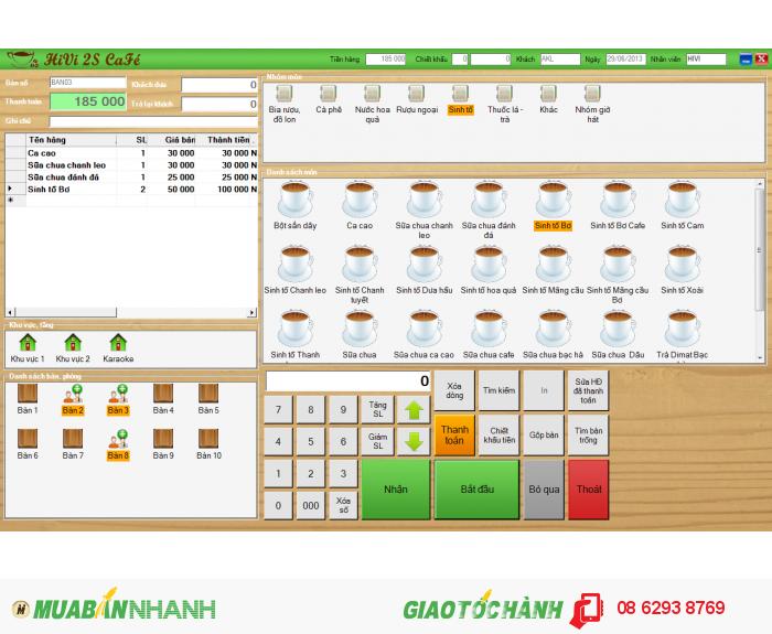 Phần mềm tính tiền nhà hàng, cafe, karaoke, shop