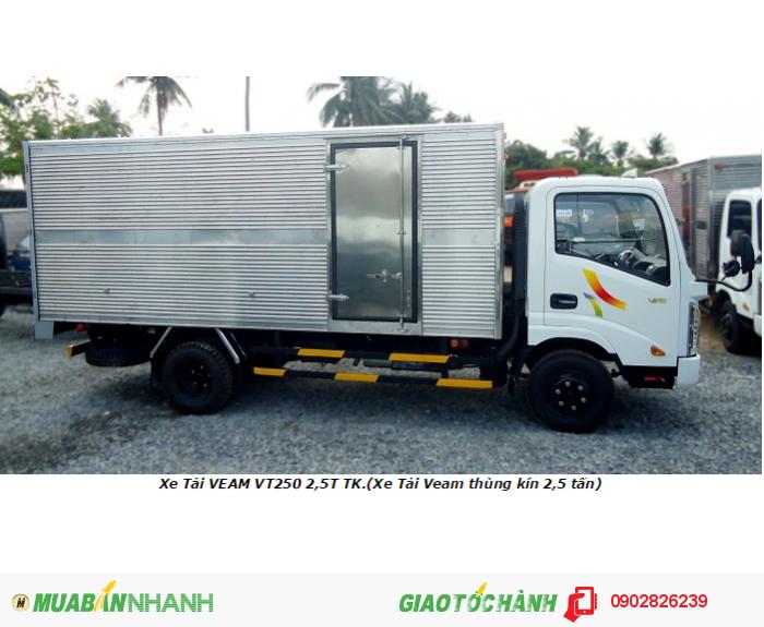 Xe tải veam 2 tấn 4/ cần mua xe tải veam vt252 2400kg thùng kín/ 2,4tan thùng mui bạt