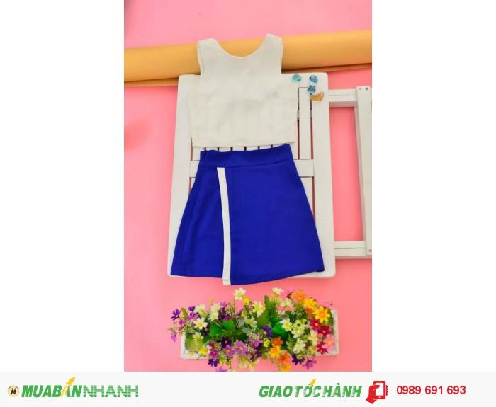 Bộ váy áo nơ xanh biển0