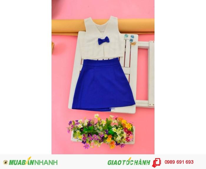 Bộ váy áo nơ xanh biển1