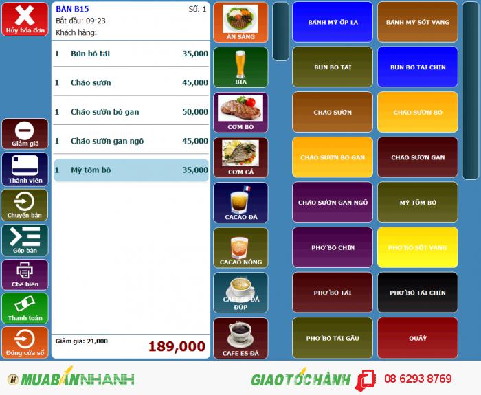 Máy bán hàng - Phần mềm quản lý quán nhậu tại Tiền Giang, Long An, Đồng Tháp, A...