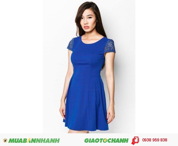 Đầm Xếp Li Sườn Phối Ren- xanh- AD222, 1