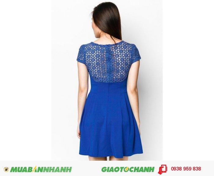 Đầm Xếp Li Sườn Phối Ren- xanh- AD232