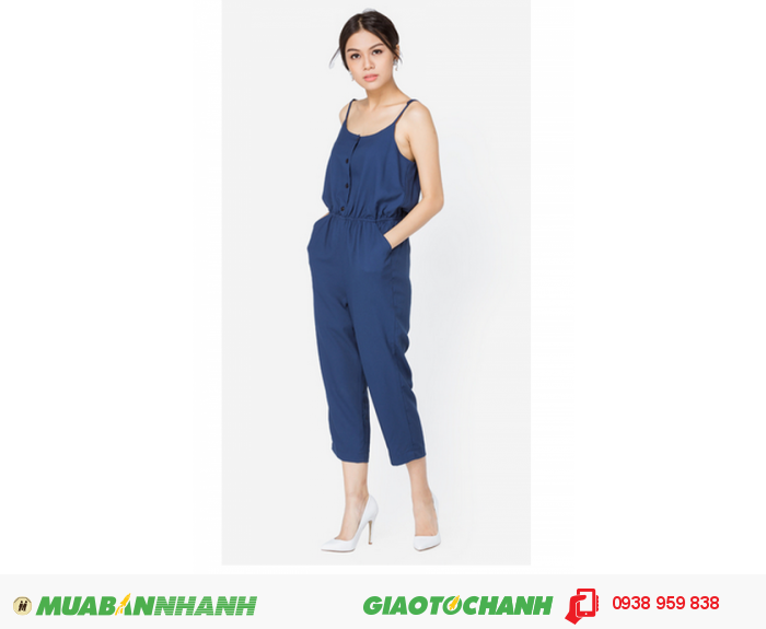 Jumpsuit hai dây xanh đen Anna Collection0