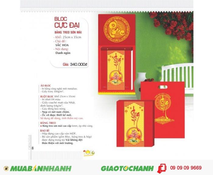 Lịch Bloc cực đại Bảng treo sơn mài - Khổ 25 x 35cm - Chủ đề: Sắc hoa - Nội du...