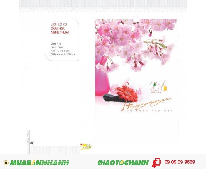Lịch lò xo 7 tờ - Cắm hoa nghệ thuật - Lò xo đỉnh - Khổ 40 x 60 cm - Giấy couché...