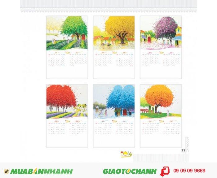 Lịch lò xo Tranh vẽ - Lịch 7 tờ, lò xo đỉnh, khổ 40 x 60 cm, giấy couché 230gms -...