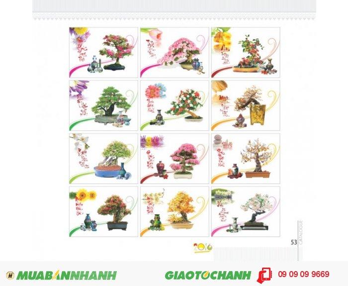 Mẫu hình Bonsai bộ lịch lò xo 13 tờ