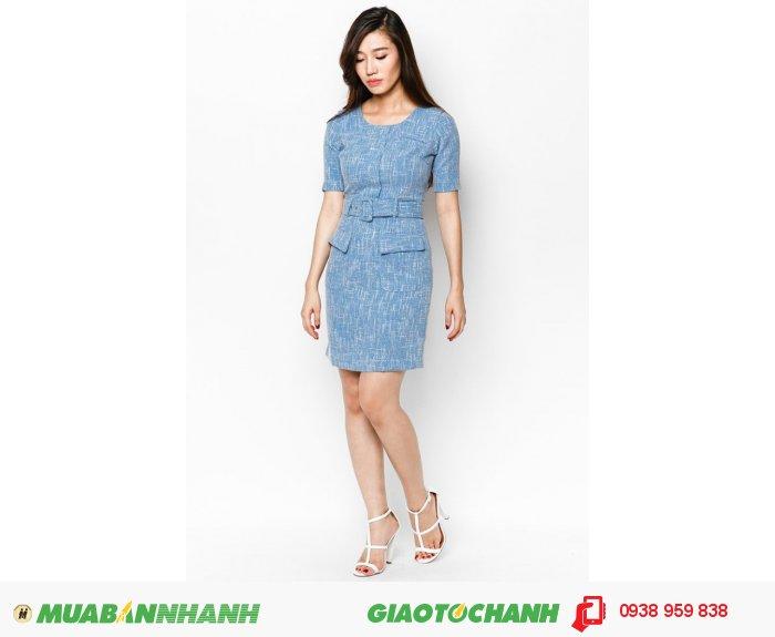 Đầm tay lỡ 2 túi trước giả khoác | Mã: AD235- xanh | Quy cách: 84-66 (+-2): chiều dài tb: 85cm - 90cm | Chất liệu kaki bố | Size (S - M - L - XL) |, 1