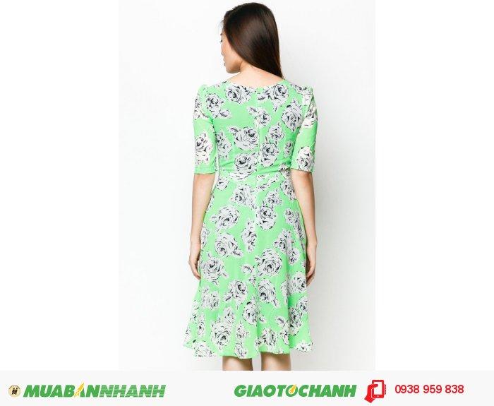 Đầm Cổ Tròn Tay Lỡ- Hoa văn xanh lá- AD228