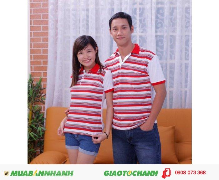 Áo thun cặp đẹp, thân trước sọc, thân sau trắng, cổ bẻ đỏ, tay bo đỏ - Giá bán 350.0000