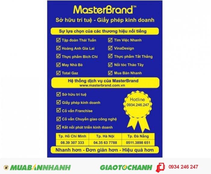 MasterBrand là tổ chức dịch vụ đại diện sở hữu công nghiệp có nhiều chuyên gia giỏi, giàu kinh nghiệp, được Cục Sở hữu trí tuệ cấp phép hoạt động đại diện cho Doanh nghiệp đăng ký nhãn hiệu, logo. Thông qua MasterBrand, Doanh nghiệp sẽ được hỗ trợ đầy đủ về mặt pháp lý, nhanh chóng về thời gian và tiết kiệm về chi phí., 3