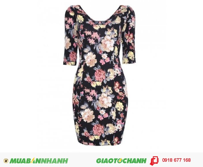 Đầm body tay lỡ in hoa ZID261852