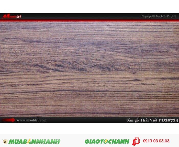 Sàn gỗ công nghiệp Thái Việt PD 20724, dày 8mm, chịu nước, chống trầy, độ bền cao; Xuất xứ: Thái Lan; Quy cách: 1205 x 192 x 8mm; Chống trầy AC4; Giá: 209.000VND., 2