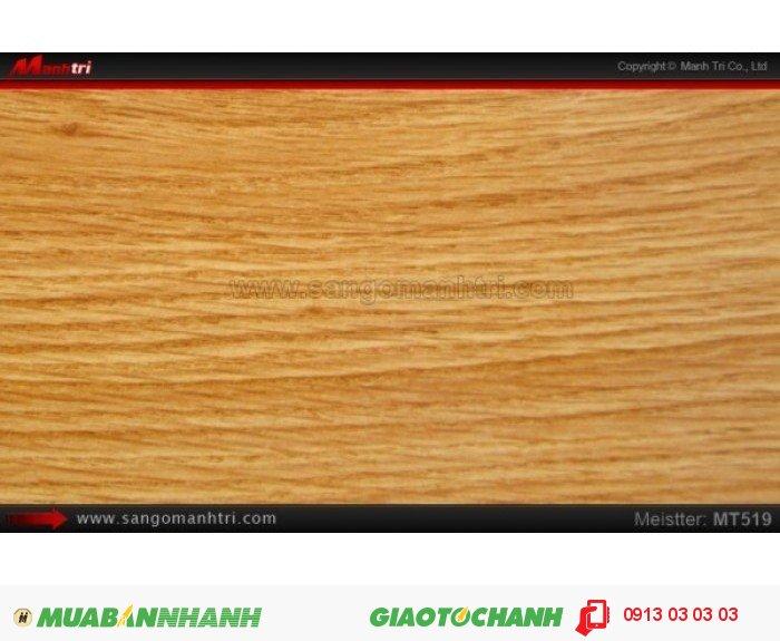 Sàn gỗ công nghiệp Meistter MT519; Qui cách: 808 x 127 x 8.3mm; Chống trầy: AC4; Ứng dụng: Thi công lắp đặt làm sàn gỗ nội thất trong nhà, phòng khách, phòng ngủ, phòng ăn, showroom, trung tâm thương mại, shopping, sàn thi đấu. Giá: 189.000VND, 3