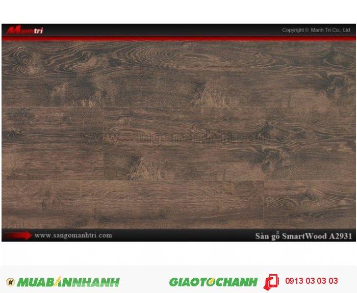 Sàn Gỗ Công Nghiệp Smart wood A2931, dày 12mm, chống thấm, chống bong tróc; Quy cách: 1205 x 191 x 12 mm; Chống trầy AC4. Giá: 444.000VND, 1