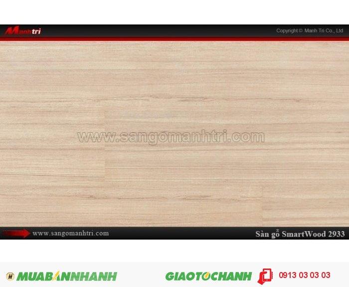 Sàn Gỗ Công Nghiệp Smart wood 2933, dày 8mm, chống thấm, chống bong tróc; Xuất xứ: Malaysia; Quy cách: 1205 x 191 x 8 mm; Chống trầy AC4. Giá: 294.000VND, 4