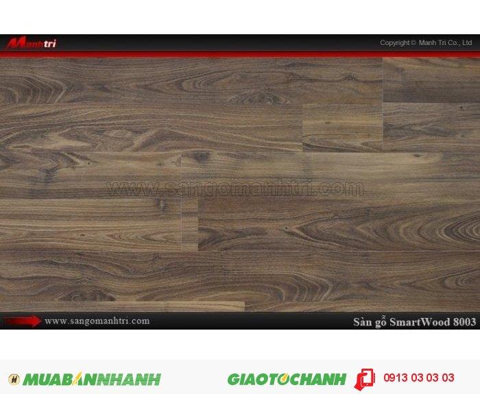 Sàn Gỗ Công Nghiệp Smart wood 8003, dày 8mm, chống thấm, chống bong tróc; Xuất xứ: Malaysia; Quy cách: 1210 x 195 x 8 mm; Chống trầy AC3. Giá: 274.000VND, 5
