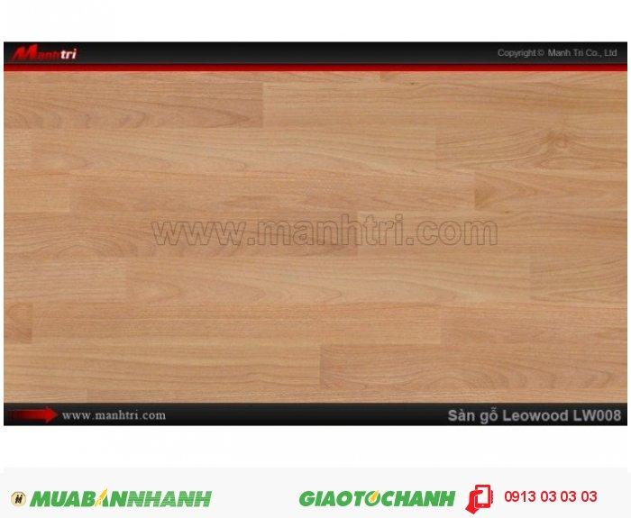 Sàn gỗ công nghiệp Leowood LW008, dày 8mm, chống mài mòn, độ bền cao | Trọng lượng: 10.00kg | Kích thước (L x W x H): 1218mm x 195mm x 8mm | Ứng dụng: Sàn gỗ Leowood được sử dụng nhiều trong các công trình nhà ở dân dụng như: nhà phố, biệt thự, khu đô thị, chung cư cao cấp.... cho đến các nhà hàng, khách sạn, các khu resort nghĩ dưỡng.....Giá: 365.000VND, 1