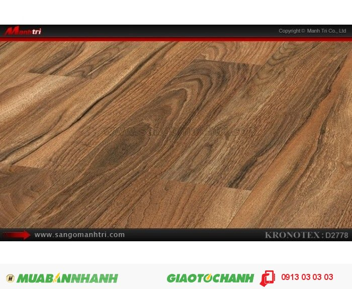 Sàn gỗ công nghiệp Kronotex D2778, dày 12mm | Qui cách: 1375 x 113 x 12mm | Chống trầy: AC5 | Ứng dụng: Thi công lắp đặt làm sàn gỗ nội thất trong nhà, phòng khách, phòng ngủ, phòng ăn, showroom, trung tâm thương mại, shopping, sàn thi đấu. Giá: 410.000VND, 1