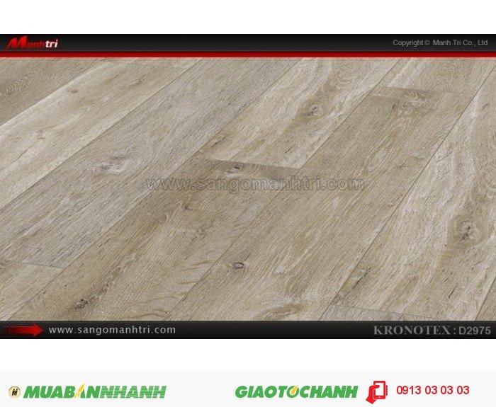 Sàn gỗ công nghiệp Kronotex D2975, dày 12mm | Qui cách: 1375 x 113 x 12mm | Chống trầy: AC5 | Ứng dụng: Thi công lắp đặt làm sàn gỗ nội thất trong nhà, phòng khách, phòng ngủ, phòng ăn, showroom, trung tâm thương mại, shopping, sàn thi đấu. Giá: 410.000VND, 2