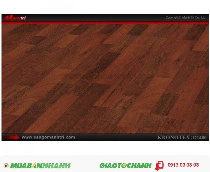 Sàn gỗ công nghiệp Kronotex D1460, dày 8mm | Qui cách: 1380 x 193 x 8mm | Chống trầy: AC4 | Ứng dụng: Thi công lắp đặt làm sàn gỗ nội thất trong nhà, phòng khách, phòng ngủ, phòng ăn, showroom, trung tâm thương mại, shopping, sàn thi đấu. Giá: 280.000VND, 3