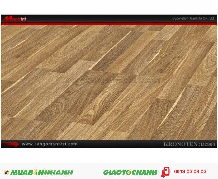Sàn gỗ công nghiệp Kronotex D2304, dày 8mm | Qui cách: 1380 x 193 x 8mm | Chống trầy: AC4 | Ứng dụng: Thi công lắp đặt làm sàn gỗ nội thất trong nhà, phòng khách, phòng ngủ, phòng ăn, showroom, trung tâm thương mại, shopping, sàn thi đấu. Giá: 280.000VND, 4