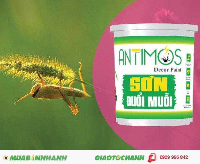 Sơn màu đuổi côn trùng Antimos | Quy cách: 1000ml | Giá: 250.000đ | Mô tả: Các hợp chất trong viên nang Microencaosuate được lưu lại trên tường khoảng từ 1-> 2 năm và chuyển hóa liên tục từ trong viên nang đến màng sơn, tác động trực tiếp để xua đuổi muỗi, các côn trùng…, 3