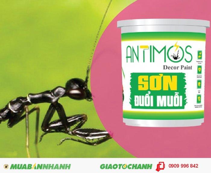 Sơn màu đuổi muỗi Antimos | Quy cách: 1000ml | Giá: 250.000đ | Mô tả: Antimos với hàm lượng chất bay hơi thấp (Low VOC) hòa quyện với tinh chất các loài cây chống muỗi theo công nghệ Biotech sẽ lưu lại rất lâu trên tường. Sơn một lần hiệu quả đến 2 năm. Sơn là lựa chọn tối ưu trong việc trừ muỗi, kiến đen và côn trùng trong nhà bạn, 5