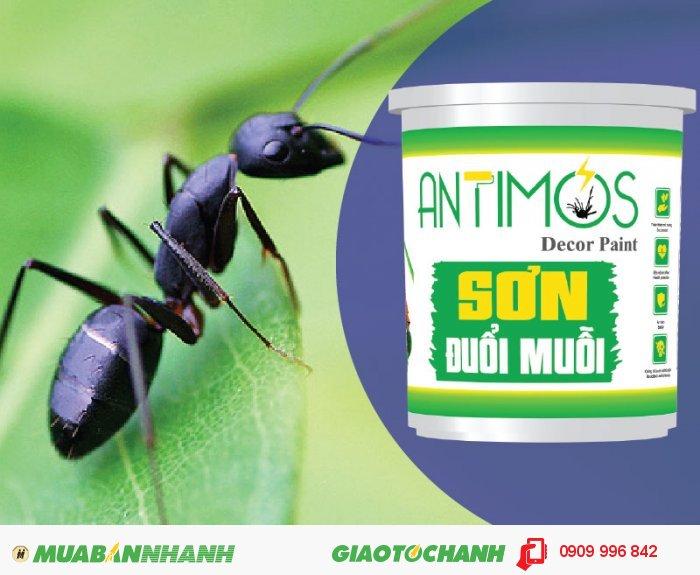 Sơn màu đuổi kiến Antimos | Quy cách: 1000ml | Giá: 250.000đ | Mô tả: Antimos đuổi được MUỖI - RUỒI - GIÁN - KIẾN - NHỆN Mối, mọt & các loại côn trùng quấy nhiễu khác .... Chính vì vậy, với sự kết hợp hài hòa giữa tinh dầu cây cỏ thiên nhiên, hoạt chất đuổi muỗi và nhựa Acrylic Elmusion, sơn đuổi muỗi Antimos sẽ chống muỗi bằng cách tác dụng trực tiếp đến côn trùng và các hợp chất trong sơn sẽ khiến muỗi khó chịu và bỏ đi., 1
