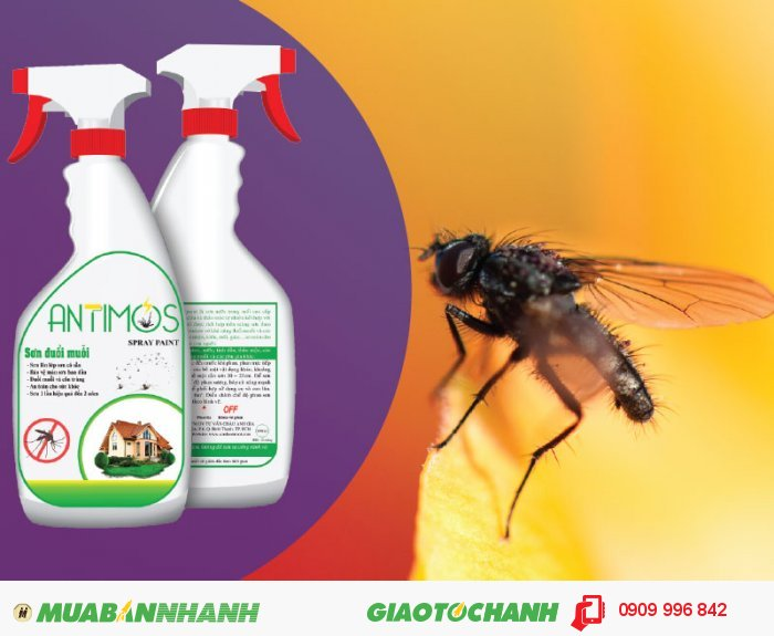Sơn trong đuổi ruồi Antimos | Quy cách: 600ml | Giá: 200.000đ | Mô tả: Antimos đuổi được MUỖI - RUỒI - GIÁN - KIẾN - NHỆN Mối, mọt & các loại côn trùng quấy nhiễu khác .... Ruồi và các côn trùng gây hại vốn là một hiểm họa khôn lường đối với sự phát triển kinh tế xã hội, vệ sinh môi trường và sức khỏe con người., 5