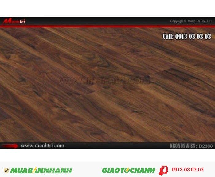 Sàn gỗ công nghiệp Kronoswiss D2300, dày 12mm; Qui cách: 1380 x 116 x 12mm; Ứng dụng: Thi công lắp đặt làm sàn gỗ nội thất trong nhà, phòng khách, phòng ngủ, phòng ăn, showroom, trung tâm thương mại, shopping, sàn thi đấu. Giá: 539.000VND, 2