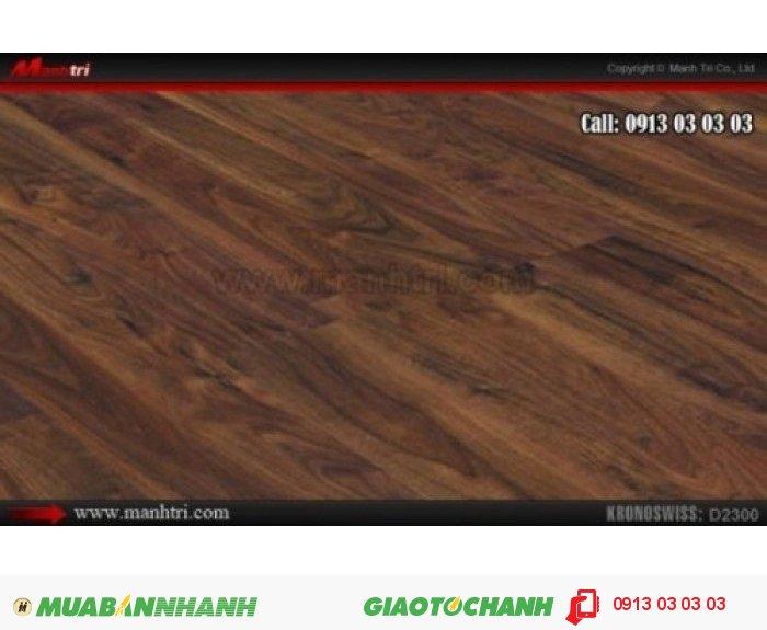 Sàn gỗ công nghiệp Kronoswiss D2300, dày 8mm; Qui cách: 1380 x 159 x 8mm; Ứng dụng: Thi công lắp đặt làm sàn gỗ nội thất trong nhà, phòng khách, phòng ngủ, phòng ăn, showroom, trung tâm thương mại, shopping, sàn thi đấu. Giá: 379.000VND, 4