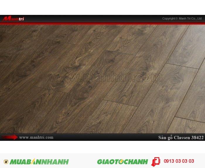 Sàn gỗ công nghiệp Classen 38422; Qui cách: 1286 x 194 x 12mm; Chống trầy: AC5; Ứng dụng: Thi công lắp đặt làm sàn gỗ nội thất trong nhà, phòng khách, phòng ngủ, phòng ăn, showroom, trung tâm thương mại, shopping, sàn thi đấu. Giá bán: 419,000 VNĐ, 2