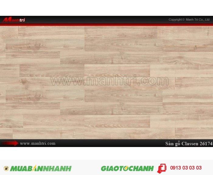 Sàn gỗ công nghiệp Classen 26174; Qui cách:1286 x 194 x 8mm; Ứng dụng: Thi công lắp đặt làm sàn gỗ nội thất trong nhà, phòng khách, phòng ngủ, phòng ăn, showroom, trung tâm thương mại, shopping, sàn thi đấu. Giá bán: 289.000VND, 4