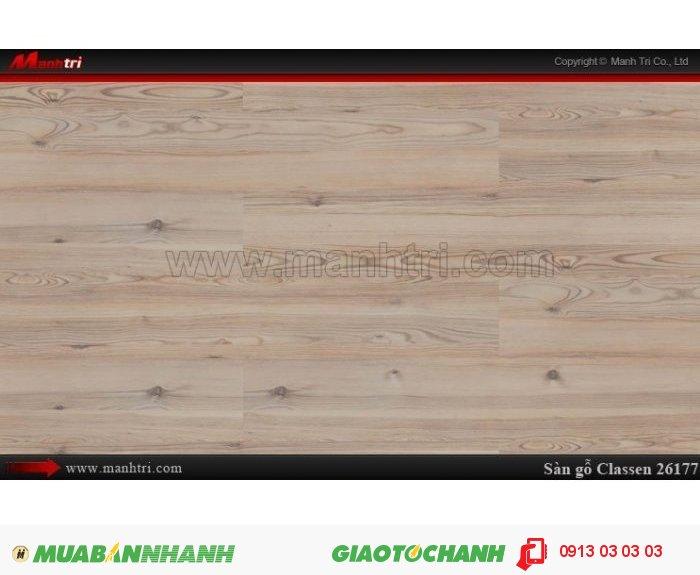 Sàn gỗ công nghiệp Classen 26177; Qui cách: 1286 x 194 x 8mm; Ứng dụng: Thi công lắp đặt làm sàn gỗ nội thất trong nhà, phòng khách, phòng ngủ, phòng ăn, showroom, trung tâm thương mại, shopping, sàn thi đấu. Giá bán: 289.000VND, 5