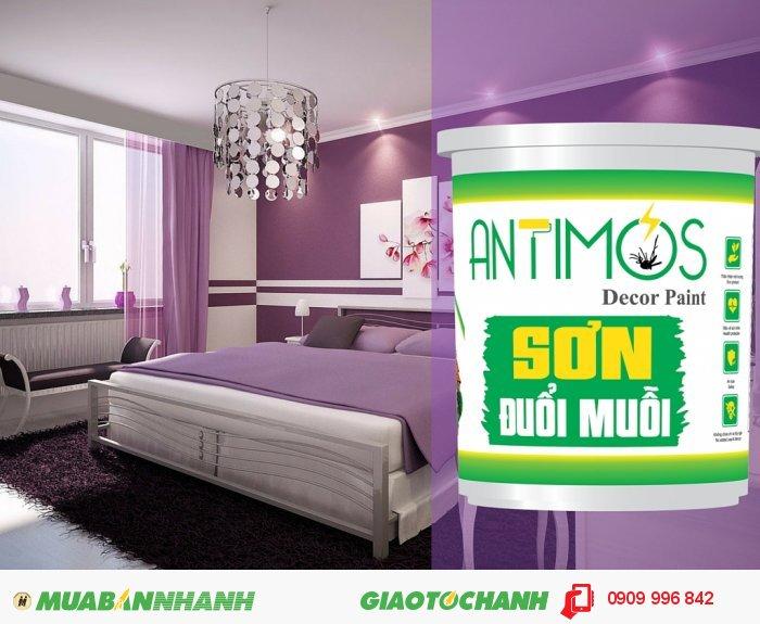 Sơn đuổi muỗi thảo dược Antimos là sơn nước cao cấp có khả năng đuổi muỗi và các côn trùng gây hại nhờ tích hợp các thảo dược thiên nhiên đuổi muỗi (tinh dầu sả, bạc hà, oải hương)., 1