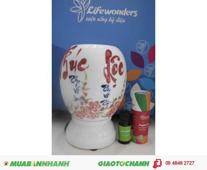 Đèn xông tinh dầu gốm sứ vẽ tay chất liệu gốm sứ Bát Tràng. Giá bán: Bộ lớn 449.000 đ, 2