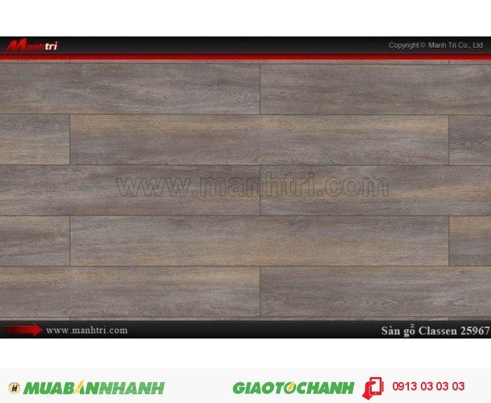Sàn gỗ công nghiệp Classen 25967| Qui cách:1286 x 160 x 8mm| Ứng dụng: Thi công lắp đặt làm sàn gỗ nội thất trong nhà, phòng khách, phòng ngủ, phòng ăn, showroom, trung tâm thương mại, shopping, sàn thi đấu. Giá bán: 339.000VND, 2