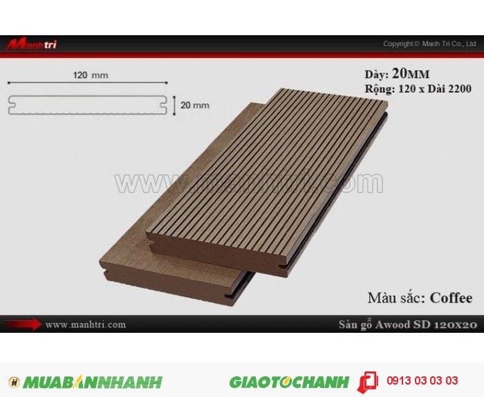 Sàn gỗ ngoài trời Awood SD120x20_Coffee; Qui cách: 120 x 20 x 2200 mm; Ứng dụng: Thi công lắp đặt làm sàn gỗ ngoài trời,ốp vách, ốp tường, ốp trần, lót sàn hồ bơi, cafe ngoài trời, san thượng, lan can, hành lang. Giá bán: 129.000VND, 2