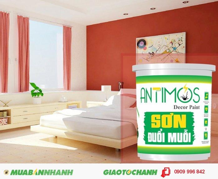 Sơn đuổi muỗi thảo dược Antimos là sơn nước cao cấp có khả năng đuổi muỗi và các côn trùng gây hại nhờ tích hợp các thảo dược thiên nhiên đuổi muỗi (tinh dầu sả, bạc hà, oải hương) trên màn sơn nhờ công nghệ Biotech., 1