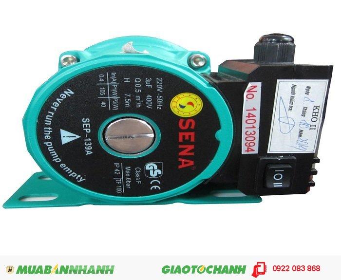 Máy bơm nước công nghiệp SEP-139AGiá: 950.000Nguồn điện: 220V - 50HzCông suất: 105WTổng cột áp: Max.7.5mLưu lượng: Max.8.3l/minỐng hút, xả: 20 mm, 5