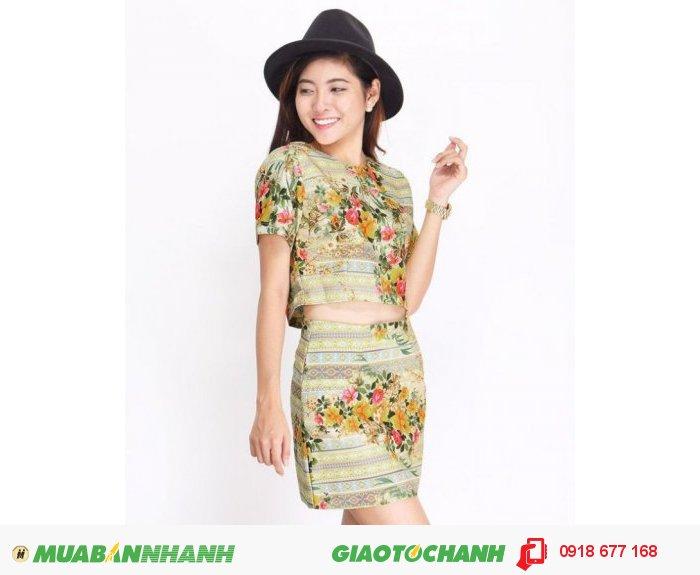 Set áo và chân váy hoa style ZID268150