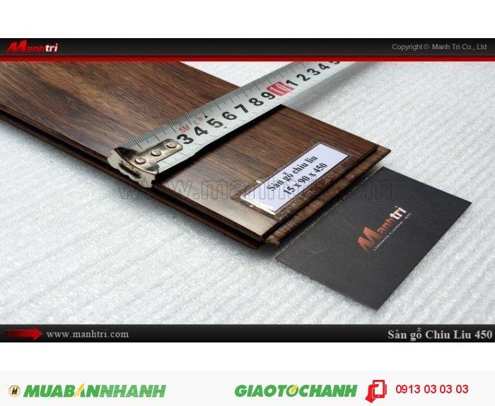 Sàn gỗ tự nhiên Chiu Liu 450mm; Kích thước (L x W x H): 450mm x 90mm x 15mm; Sàn gỗ Chiu liu 450mm có thể chống được mục, không bị mối ăn nên sản phẩm thường được khá nhiều khách hàng lựa chọn trong xây nhà, làm đồ gia dụng, làm sàn gỗ, trụ cầu thang…Giá bán: 800.000VND, 4