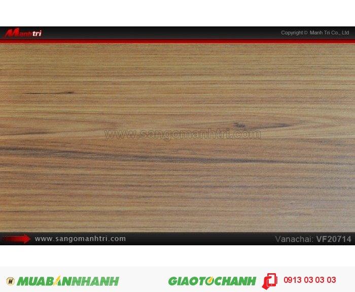 Sàn gỗ công nghiệp Vanachai VF20714, dày 12mm, độ bền cao; Qui cách: 1205x 193 x 12mm; Xuất xứ hàng hóa: Sản xuất tại THÁI LAN - Chống trầy: AC3; Ứng dụng: Thi công lắp đặt làm sàn gỗ nội thất trong nhà, phòng khách, phòng ngủ, phòng ăn, showroom, trung tâm thương mại, shopping, sàn thi đấu. Giá bán: 235.000VND, 5