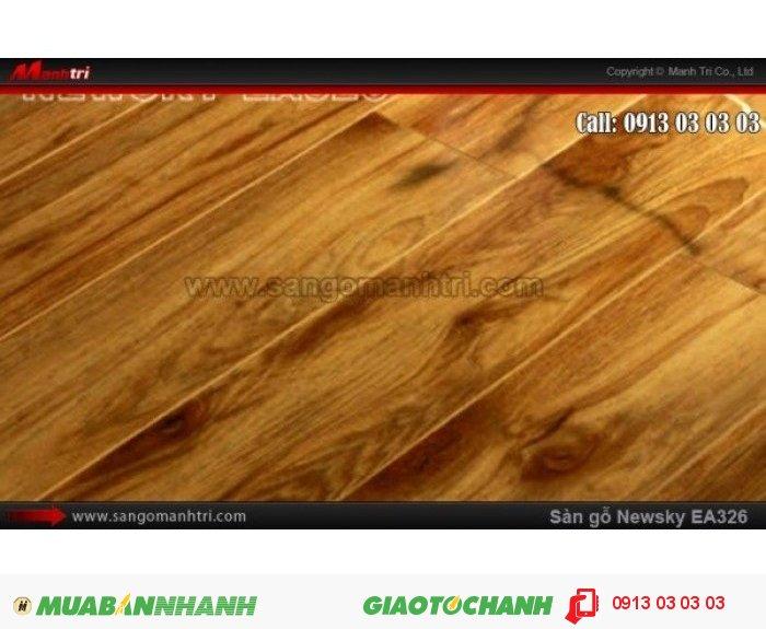 Sàn gỗ công nghiệp Newsky EA326, dày 12mm, chống mối mọt; Qui cách: 808 x 112 x 12 mm; Ứng dụng: Thi công lắp đặt làm sàn gỗ nội thất trong nhà, phòng khách, phòng ngủ, phòng ăn, showroom, trung tâm thương mại, shopping, sàn thi đấu. Giá bán: 209.000VND, 5
